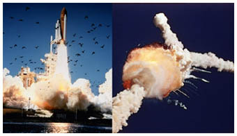 Figuur: In 1986 vond het Space Shuttle Challenger ongeluk plaats.