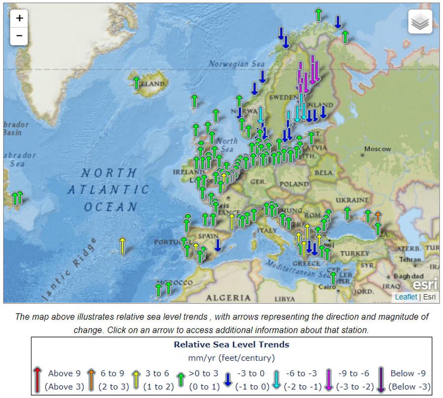 Zeespiegel veranderingen in Europa.