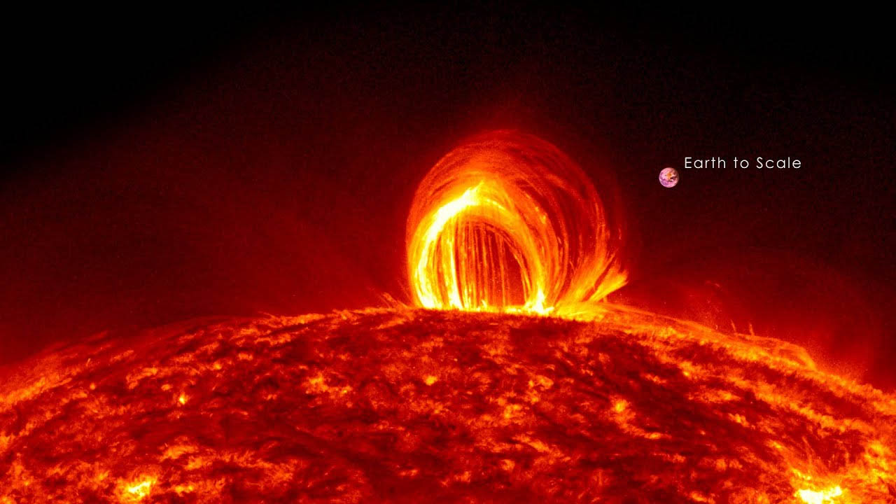 Figure A: solar flare arising from solar magnetic activity.